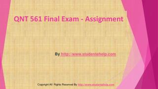 QNT 561 Final Exam Latest Assignment