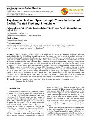 Biofield Treated Triphenyl Phosphate