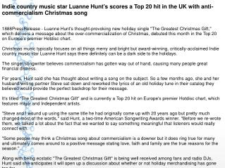 Indie country music star Luanne Hunt's scores a Top 20 hit in the UK with anti-commercialism Christmas song