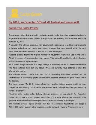 Relevance of Solar Power in Australia by 2018