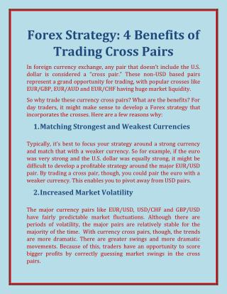 Forex Strategy: 4 Benefits of Trading Cross Pairs