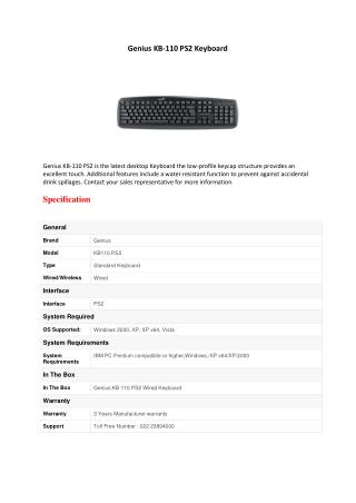 Genius KB-110 PS2 Keyboard Black