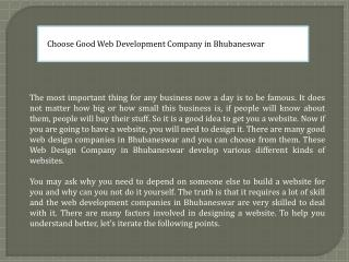 Choose good web development company in bhubaneswar