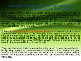 East Coast Insurance Group Offers Auto Insurance in Boynton Beach and Delray Beach