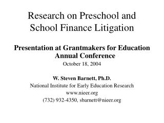 Research on Preschool and School Finance Litigation