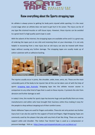 Know everything about the Sports strapping tape