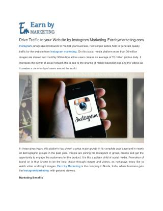 Instagram marketing  Company at lowest Price Noida India-EarnbyMarketing.com