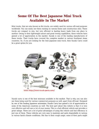 Some Of The Best Japanese Mini Truck Available In The Market