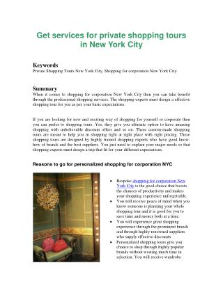Get services for private shopping tours in New York City