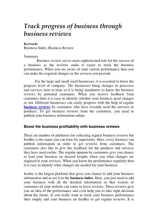 Track progress of business through business reviews