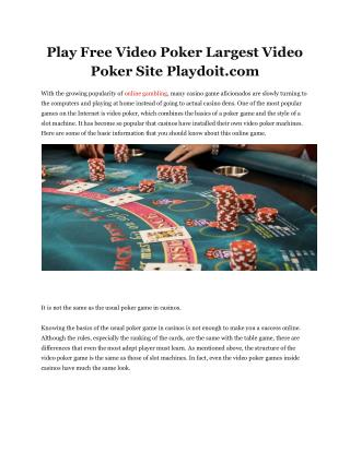 Play Free Video Poker Largest Video Poker Site Playdoit.com