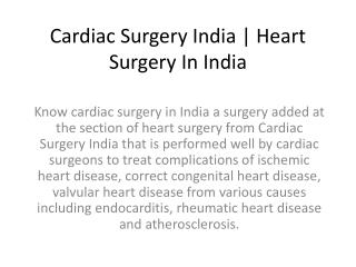 Cardiac Surgery India Heart Surgery In India