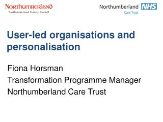 User-led organisations and personalisation