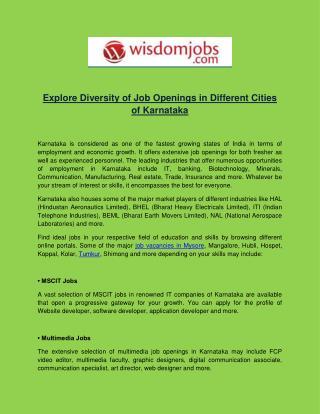Explore Diversity of Job Openings in Different Cities of Karnataka