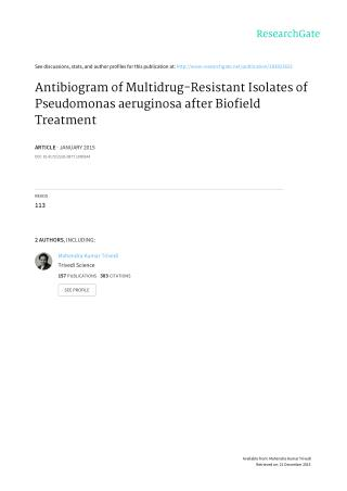 Antibiogram of Multidrug-Resistant Isolates of Pseudomonas aeruginosa after Biofield Treatment