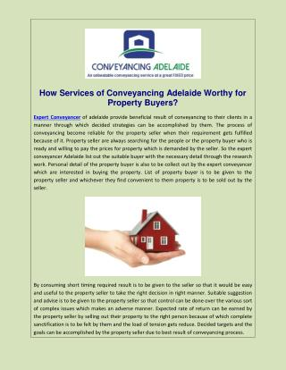 How Services of Conveyancing Adelaide Worthy for Property Buyers?
