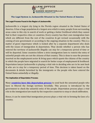 The Legal System in Jacksonville Situated in the United States of America