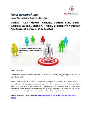 Fumaric Acid Market Analysis, Market Size, Share, Regional Outlook, Industry Trends, Competitive Strategies And Segment