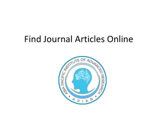 Find journal articles online
