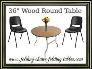 "36"" Wood Round Table - Folding Chairs Tables Larry"