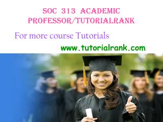 SOC 313 Academic Professor / tutorialrank.com