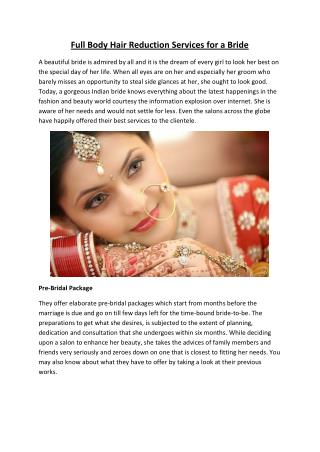 Full Body Hair Reduction Services for a Bride