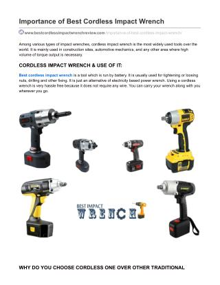 Importance of Best Cordless Impact Wrench