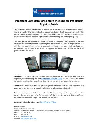 Important Considerations before choosing an iPad Repair Boynton Beach