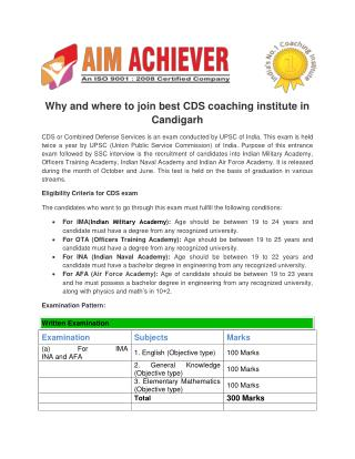 Best Coaching for CDS Exam in Chandigarh