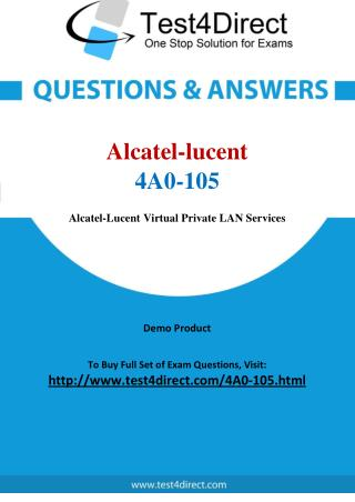 Alcatel lucent 4A0-105 Test - Updated Demo