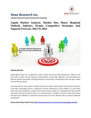 Lignin Market Analysis, Market Size, Share, Regional Outlook, Industry Trends, Competitive Strategies And Segment Foreca