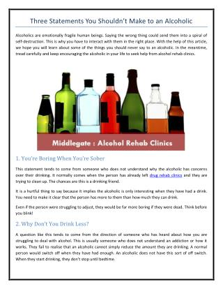 Three Statements You Shouldn't Make to an Alcoholic