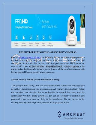 BENEFITS OF BUYING FOSCAM SECURITY CAMERAS.