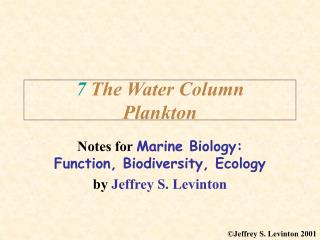 7 The Water Column Plankton