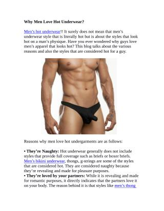 Why Men Love Hot Underwear?