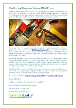 Qualities that Handyman Redmond Must Possess