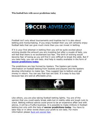 Win football bets with soccer predictions today