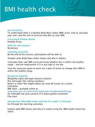 BMI health check
