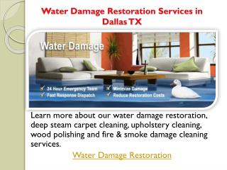 Water Damage Restoration Services in Dallas TX