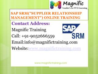 SAP SRM ONLINE TRAINING IN USA|UK|CANADA