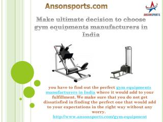 Make ultimate decision to choose gym equipments manufacturers in India