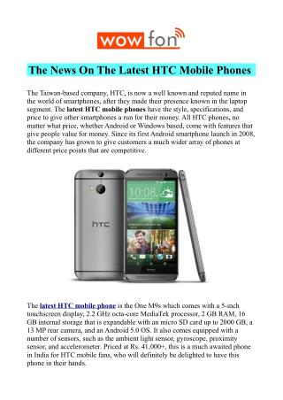 All HTC Mobile Phones