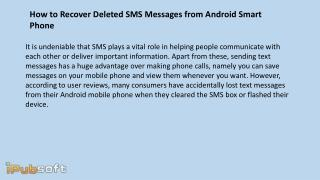 How to Recover Deleted SMS Messages from Android Smart Phone