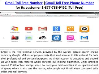 Gmail Toll Free Phone Number 1-877-788-9452| Email Support & Help