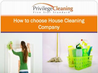 How to choose House Cleaning Company