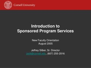 Introduction to Sponsored Program Services
