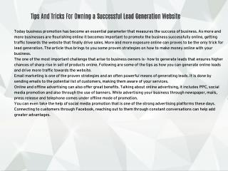 Tips And Tricks For Owning a Successful Lead Generation Website