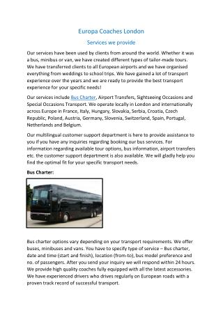 Bus Charters, Airport transfers in London