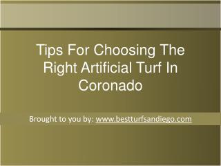 Tips For Choosing The Right Artificial Turf In Coronado