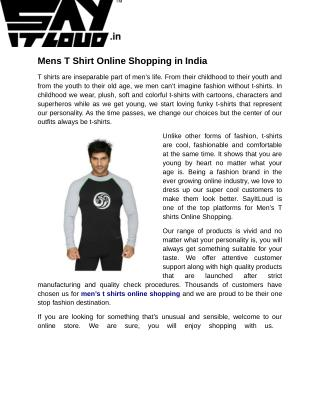 Mens T Shirt Online Shopping in India